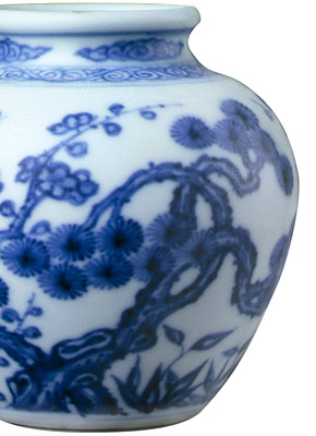 A Chinese ceramic blue and white jar
