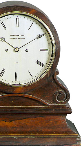 A mid-nineteenth century rosewood bracket clock by Barraud & Lund, Cornhill, London